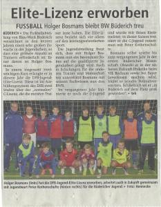 Zeitung Bosmans Trainerschein 2015
